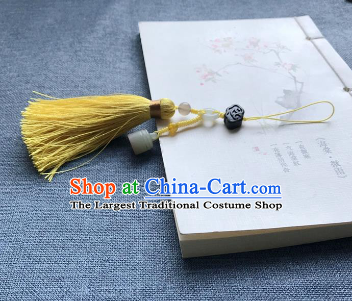 Chinese Ancient Hanfu Yellow Tassel Pendant Jade Seal Cloud Lappet Jewelry Brooch Accessories
