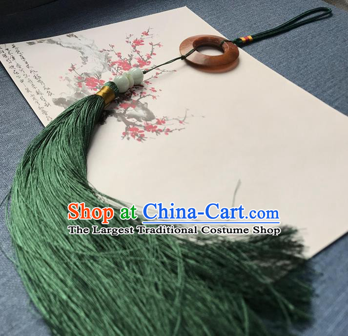 Chinese Ancient Hanfu Green Tassel Pendant Jade Brooch Jewelry Accessories Lappet