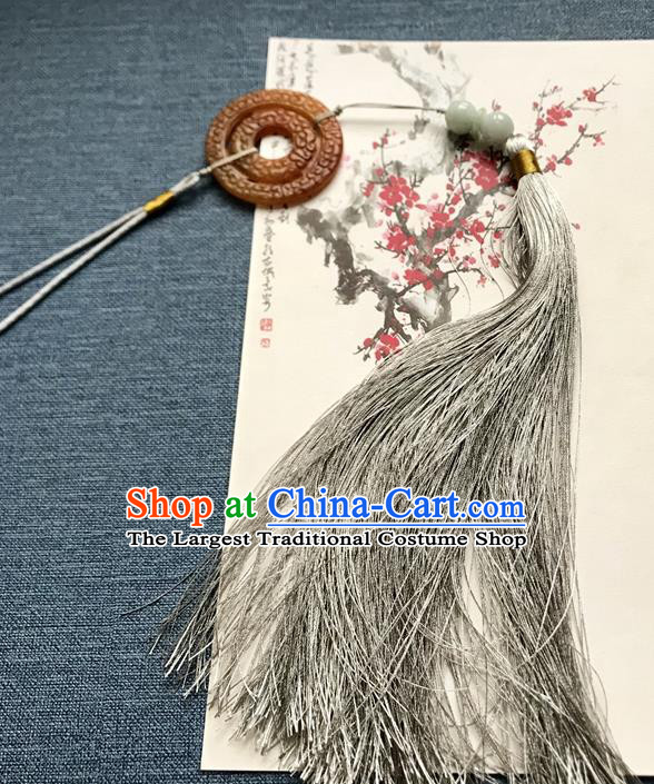 Chinese Ancient Hanfu Grey Tassel Pendant Yellow Jade Brooch Jewelry Accessories Lappet