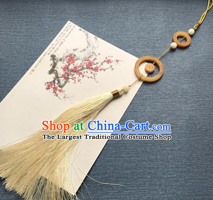Chinese Ancient Hanfu Beige Tassel Pendant Yellow Jade Brooch Jewelry Accessories Lappet