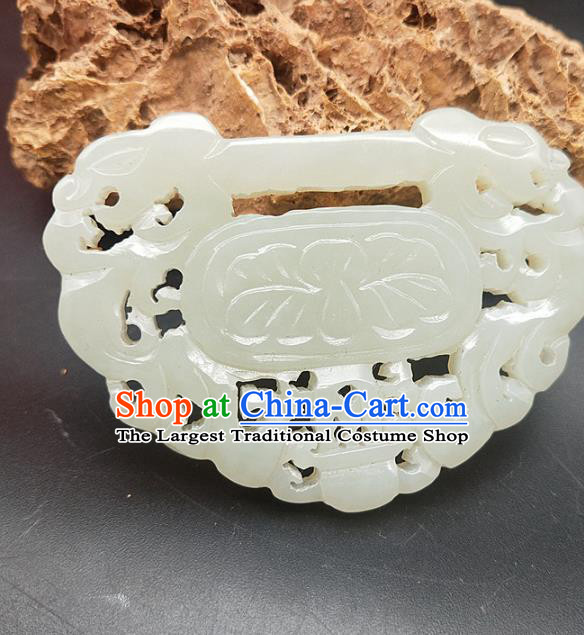 Chinese Handmade Jade Dragon Pendant Hsiuyen Jade Label Carving Jade Necklace Accessories Craft