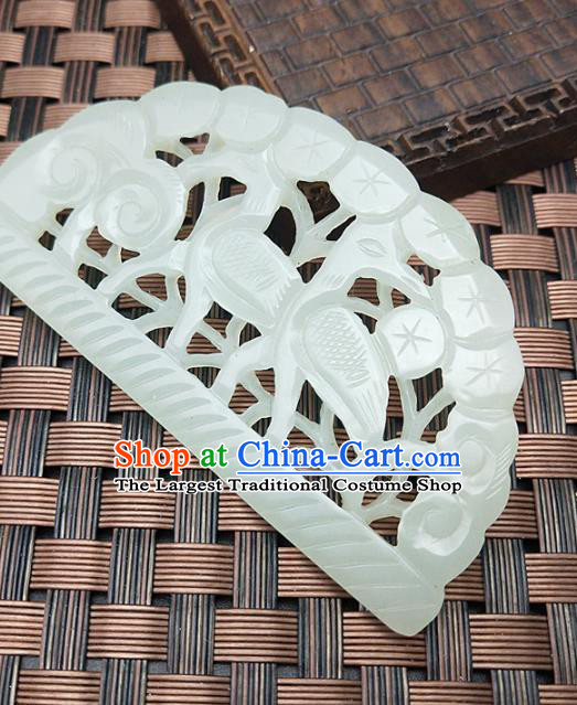 Chinese Handmade Jade Pendant Jade Label Hetian Jade Carving Crane Pine Necklace Accessories Craft