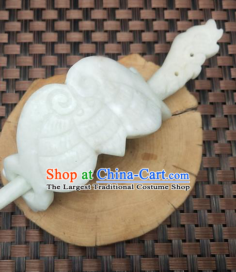Chinese Ancient Jade Carving Hairdo Crown Headwear Hair Accessories Hanfu Hetian Jade Hairpin