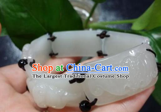 Chinese Ancient Hanfu White Jade Bangle Wristlet Accessories Jade Bracelet Jewelry