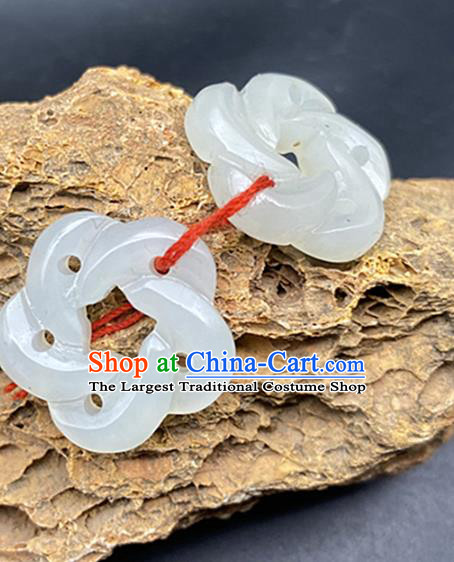 Chinese Ancient Carving Plum White Jade Accessories Hetian Jade Pendant Jade Craft