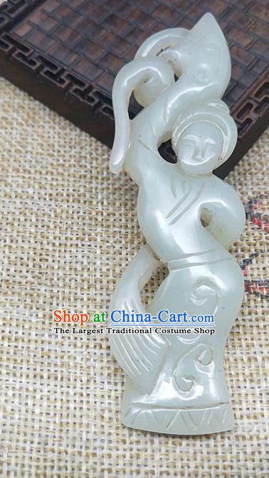 Chinese Handmade Retro Jade Label Craft Jade Necklace Accessories Carving Goddess Handgrip Pendant