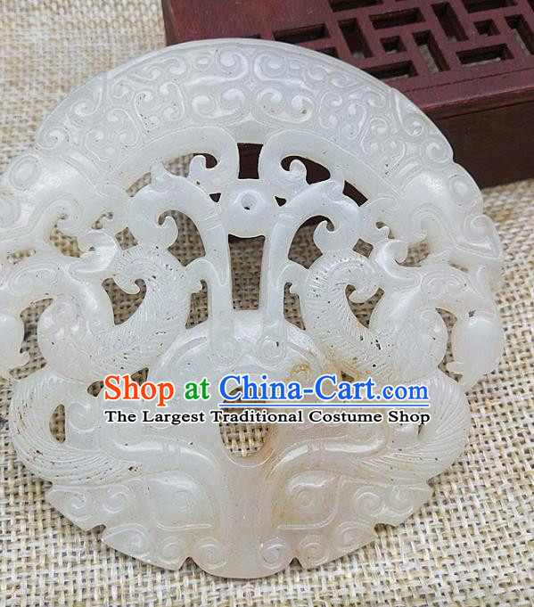 Chinese Handmade Jade Label Craft Jade Necklace Accessories Carving Dragon Phoenix Handgrip Pendant