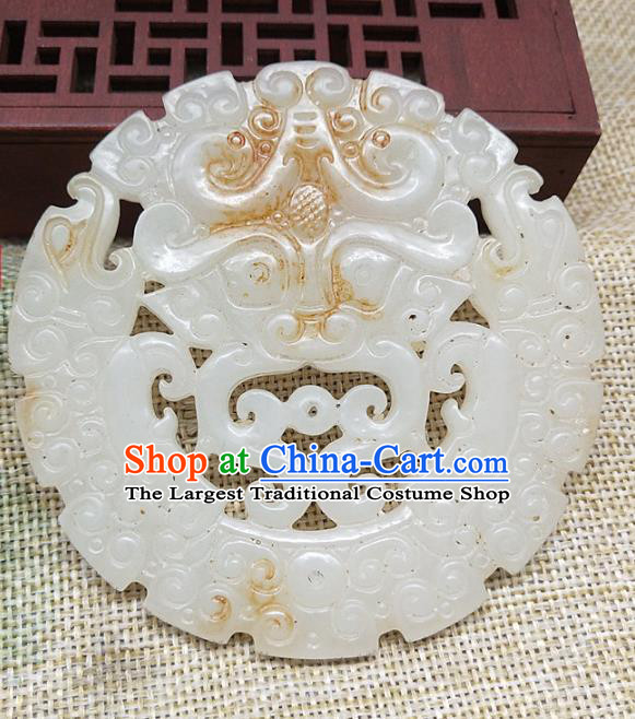 Chinese Handmade Jade Handgrip Craft Jade Label Necklace Accessories Carving Monster Jade Pendant