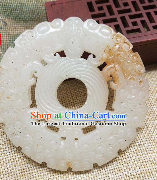 Chinese Handmade Jade Craft Jade Label Necklace Accessories Carving Dragon Jade Handgrip Ring Pendant