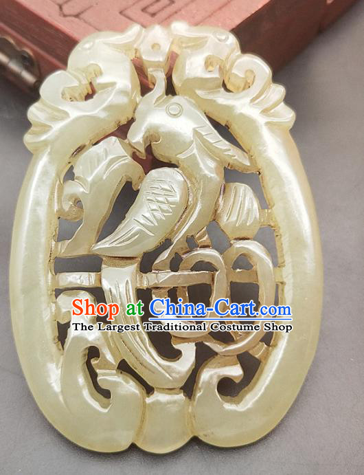 Chinese Handmade Jade Magpie Handgrip Craft Jade Necklace Accessories Carving Jade Label Pendant