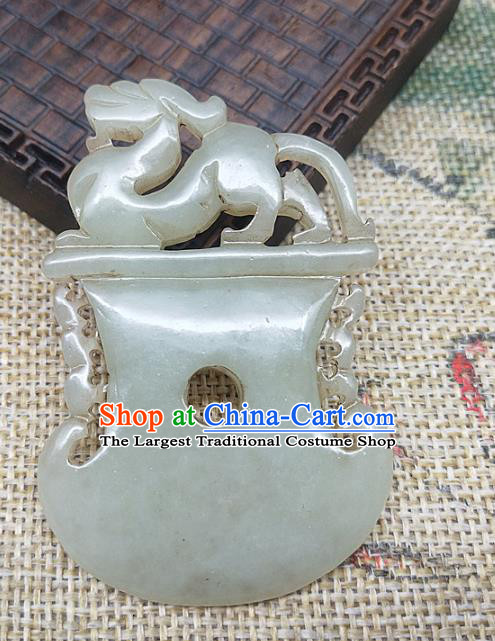Chinese Handmade Retro Jade Dragon Label Craft Jade Necklace Accessories Carving Handgrip Pendant