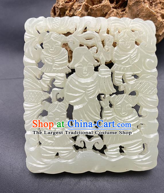 Chinese Ancient Carving Children Jade Accessories Hetian Jade Pendant White Jade Pierced Craft