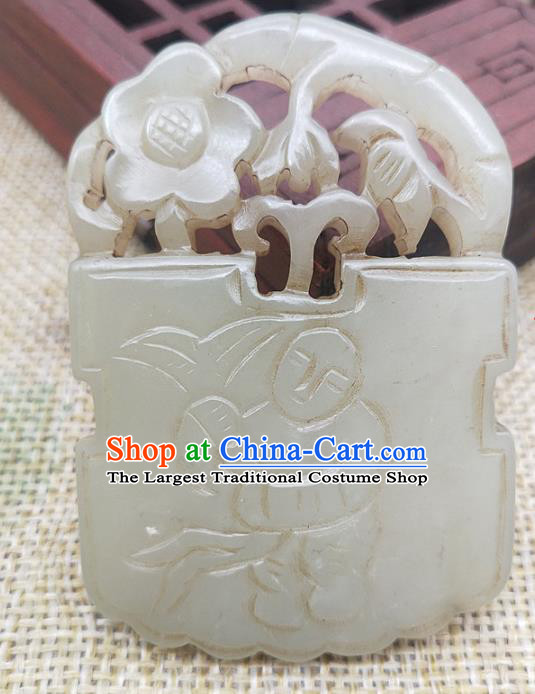 Chinese Handmade Jade Flowers Handgrip Craft Jade Necklace Accessories Carving Jade Label Pendant