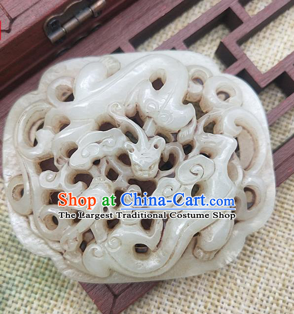 Chinese Handmade Jade Accessories Handgrip Craft Jade Necklace Carving Dragon Jade Label Pendant
