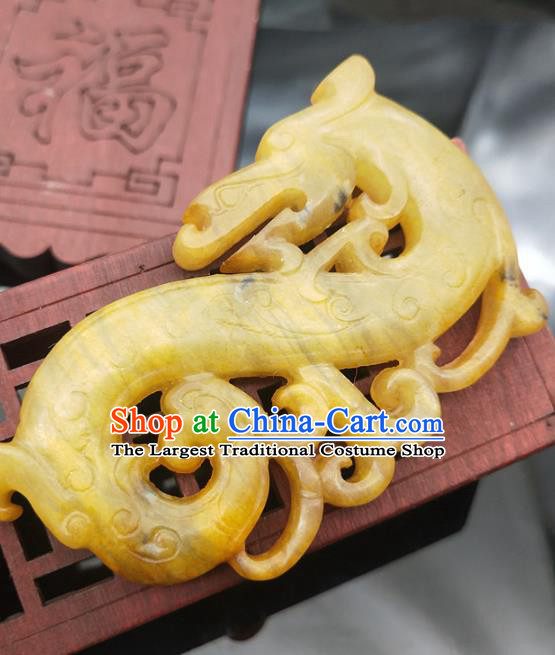 Chinese Handmade Yellow Jade Accessories Handgrip Craft Jade Jewelry Carving Dragon Jade Pendant