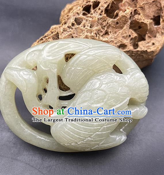 Chinese Ancient Carving Crane Jade Accessories Hetian Jade Pendant Jade Necklace Craft