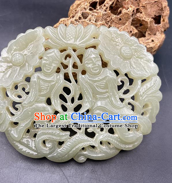 Chinese Ancient Carving Gods Jade Accessories Hetian Jade Pendant Jade Necklace Craft