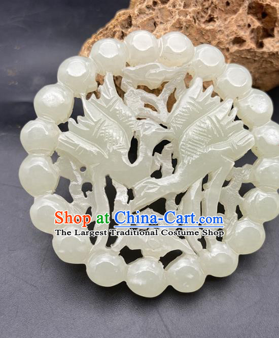 Chinese Ancient Carving Double Cranes Jade Necklace Accessories Hetian Jade Pendant Jade Label Craft