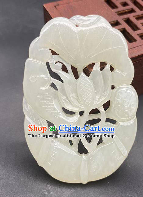 Chinese Ancient Carving Fish Lotus Jade Necklace Accessories Jade Label Craft Hetian Jade Pendant