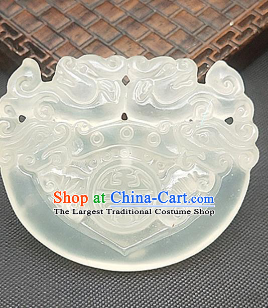 Chinese Ancient Jade Necklace Accessories Hetian Jade Label Craft Carving Dragon Phoenix Jade Pendant