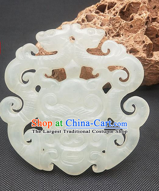 Chinese Ancient Jade Monster Necklace Accessories Hetian Jade Label Craft Carving Dragon Jade Pendant