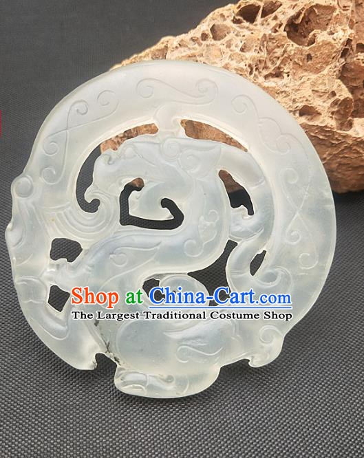 Chinese Ancient Jade Accessories Necklace Hsiuyen Jade Label Craft Carving Dragon Jade Pendant