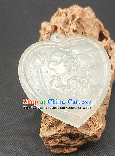 Chinese Handmade Heart Shape Jade Accessories Hsiuyen Jade Label Craft Carving Mandarin Duck Jade Necklace Pendant