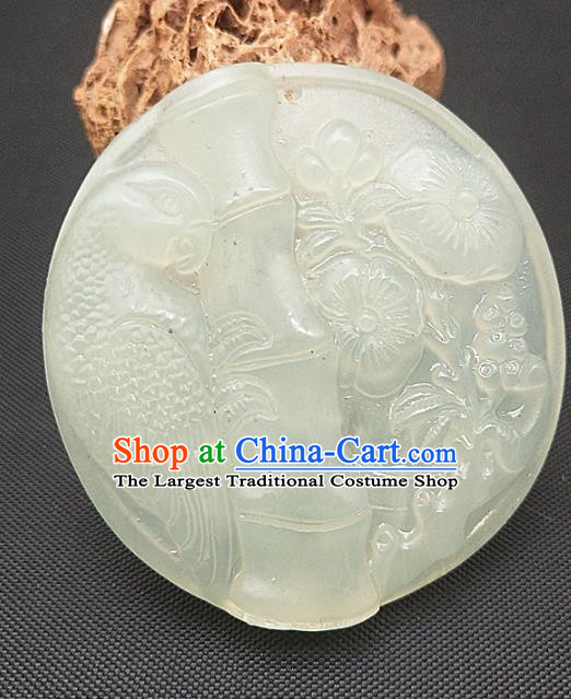 Chinese Handmade Jade Accessories Hsiuyen Jade Label Craft Carving Bamboo Plum Jade Necklace Pendant