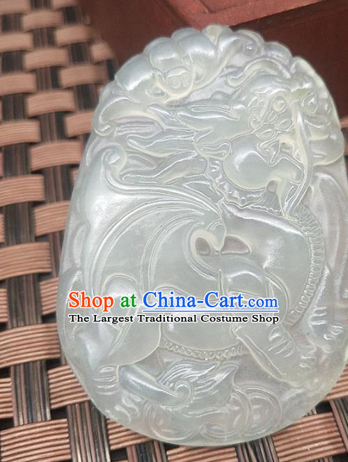 Chinese Handmade Jade Necklace Pendant Hsiuyen Jade Label Carving Kylin Jade Accessories Craft