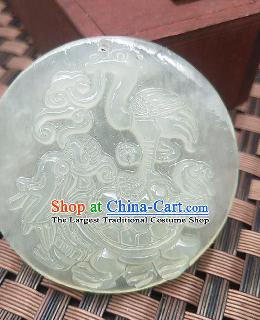 Chinese Handmade Round Jade Necklace Pendant Hsiuyen Jade Label Carving Crane Tortoise Jade Accessories Craft