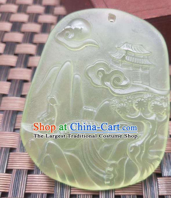Chinese Handmade Jade Pendant Hsiuyen Jade Label Carving Palace Jade Accessories Necklace Craft