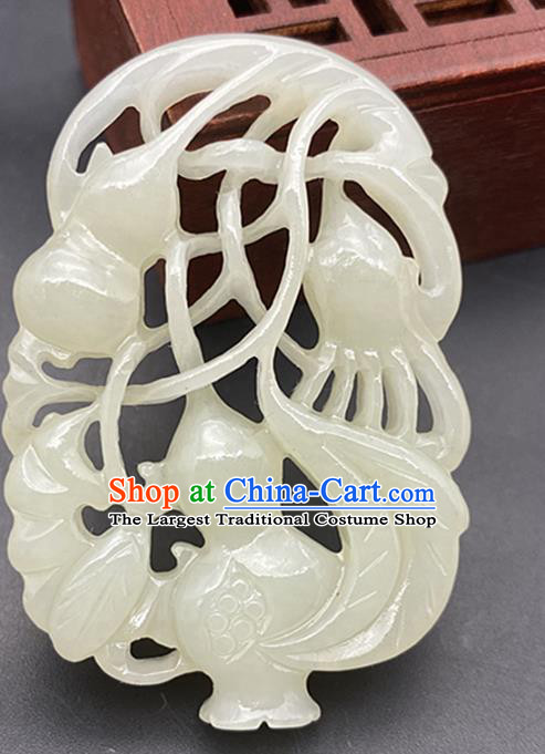 Chinese Ancient Carving Calabash Jade Necklace Accessories Jade Label Craft Hetian Jade Pendant