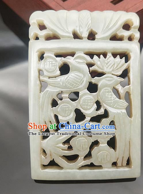 Chinese Handmade Jade Carving Accessories Handgrip Craft Jade Jewelry Jade Magpie Necklace Pendant