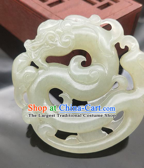 Chinese Handmade Jade Carving Dragon Necklace Accessories Handgrip Craft Jade Jewelry Jade Pendant