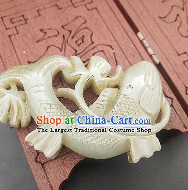 Chinese Handmade Jade Carving Carp Necklace Accessories Handgrip Craft Jade Jewelry Jade Fish Pendant