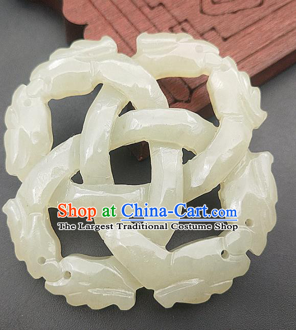 Chinese Handmade Jade Carving Necklace Accessories Handgrip Craft Jade Jewelry Jade Dragon Pendant