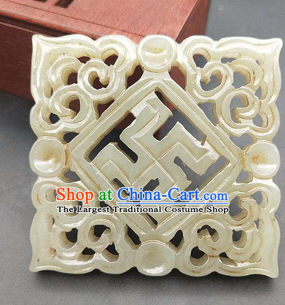 Chinese Handmade Jade Carving Lucky Necklace Accessories Handgrip Craft Jade Jewelry Jade Svastika Pendant