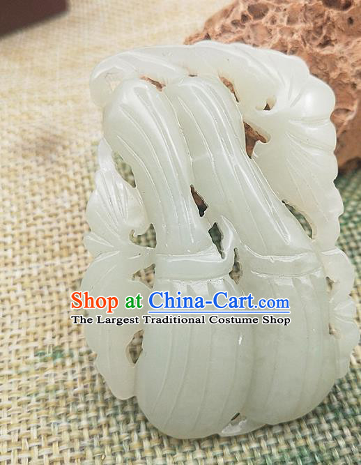 Chinese Jade Carving Necklace Accessories Handgrip Craft Handmade Jade Jewelry Jade Towel Gourd Pendant