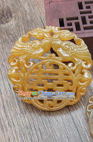 Chinese Yellow Jade Carving Phoenix Necklace Accessories Handgrip Craft Handmade Jade Jewelry Wedding Jade Pendant