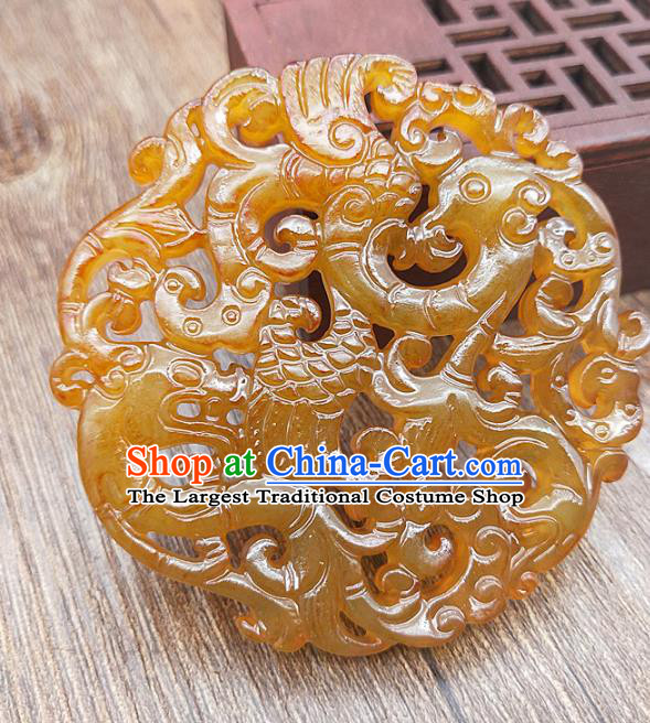 Chinese Yellow Jade Carving Dragon Phoenix Necklace Accessories Handgrip Craft Handmade Jade Jewelry Jade Pendant