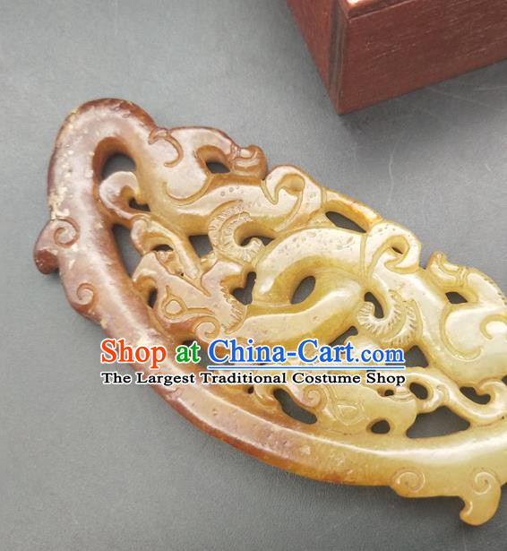 Chinese Jade Carving Dragon Necklace Accessories Handgrip Craft Handmade Jade Jewelry Jade Semi Annular Pendant