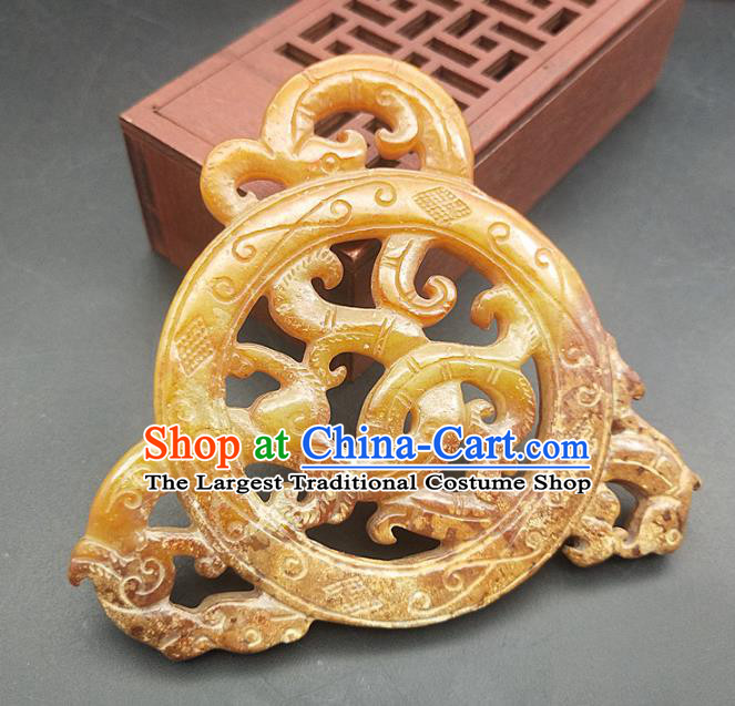 Chinese Carving Jade Dragon Necklace Accessories Handgrip Craft Handmade Jade Jewelry Jade Waist Pendant