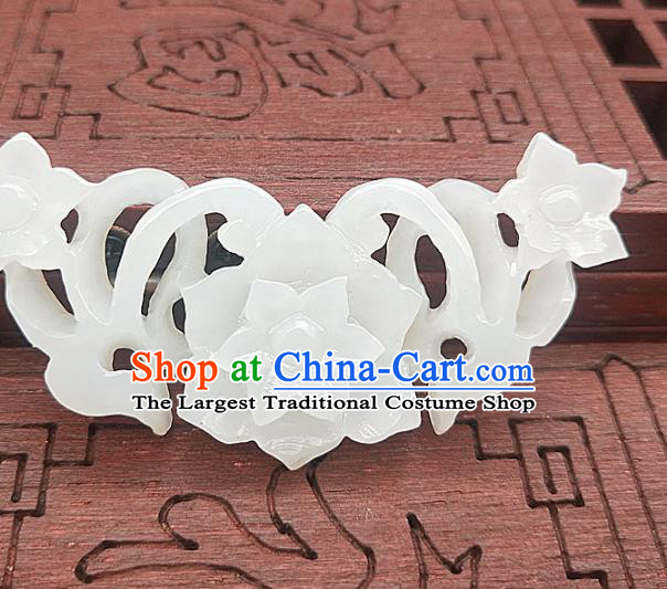Chinese Carving Flowers White Jade Dragon Necklace Accessories Handgrip Craft Handmade Jade Jewelry Jade Waist Pendant