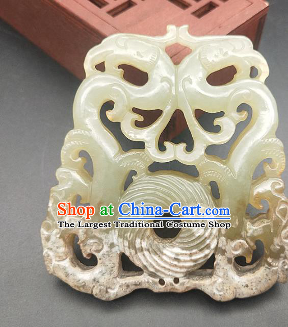 Chinese Retro Carving Jade Necklace Accessories Handgrip Craft Handmade Jade Jewelry Jade Phoenix Waist Pendant