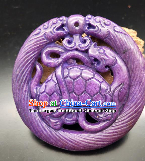 Chinese Retro Carving Purple Jade Waist Accessories Handgrip Craft Handmade Jade Jewelry Jade Tortoise Pendant