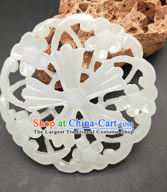 Chinese Retro Hetian Jade Waist Accessories Handgrip Craft Handmade Jade Jewelry Carving Jade Flowers Pendant