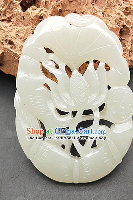 Chinese White Hetian Jade Waist Accessories Handgrip Craft Handmade Jade Jewelry Carving Jade Fish Lotus Pendant