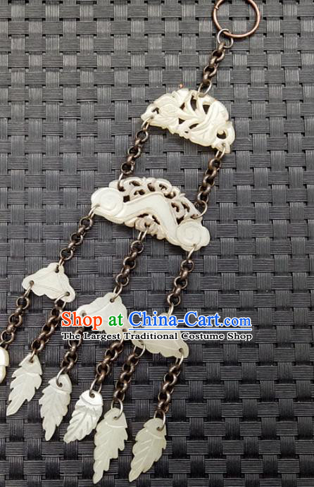 Chinese Handmade Jade Tassel Waist Accessories Handgrip Craft Handmade Jade Jewelry Carving Semi Annular Jade Pendant