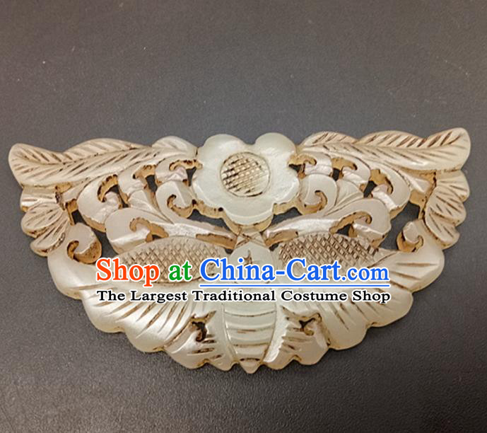Chinese Handmade Jade Waist Accessories Handgrip Craft Handmade Jade Jewelry Carving Butterfly Jade Pendant