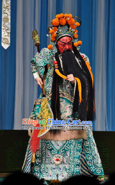 Chinese Peking Opera General Apparel Costumes The Huarong Path Minister Guan Yu Garment Kao Armor Suit and Helmet
